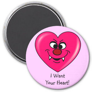 Vampire Valentine: Give your heart to me 3 Inch Round Magnet