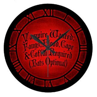 Vampire Wanted Large Clock