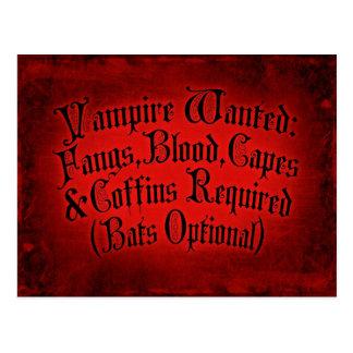 Vampire Wanted Postcard
