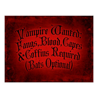 Vampire Wanted Print