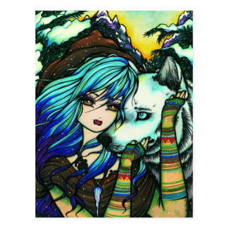 Vampire Werewolf Snow Fantasy Fairy Art Postcard