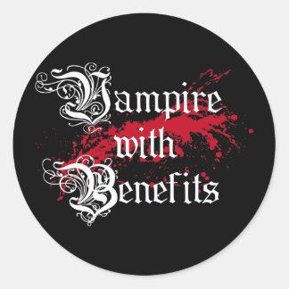 Vampire with Benefits Classic Round Sticker