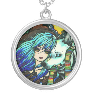 Vampire Wolf Fantasy Fairy Art Hannah Lynn Silver Plated Necklace