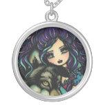 Vampire Wolf Night Sky Girl Art by Hannah Lynn Necklace