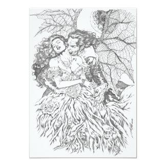 Vampire's Kiss by Al Rio - Vampire and Woman Art 5x7 Paper Invitation Card