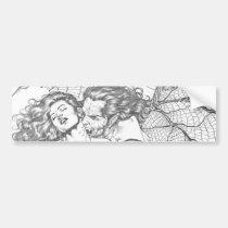 vampire's kiss,al rio,vampire,bite,vampires,horror,gothic,art,drawing,beautiful, Bumper Sticker with custom graphic design