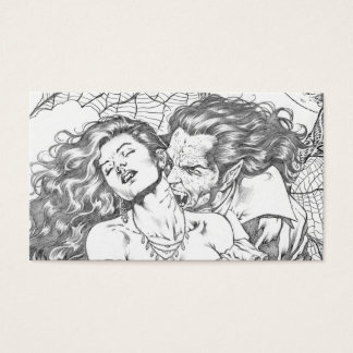 Vampire's Kiss by Al Rio - Vampire and Woman Art Business Card