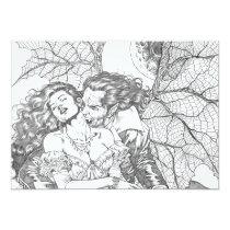 vampire's kiss,al rio,vampire,bite,vampires,horror,gothic,art,drawing,beautiful, Invitation with custom graphic design
