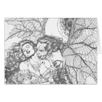 vampire's kiss,al rio,vampire,bite,vampires,horror,gothic,art,drawing,beautiful, Cartão com design gráfico personalizado
