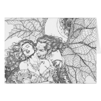 Vampire's Kiss by Al Rio - Vampire and Woman Art Card