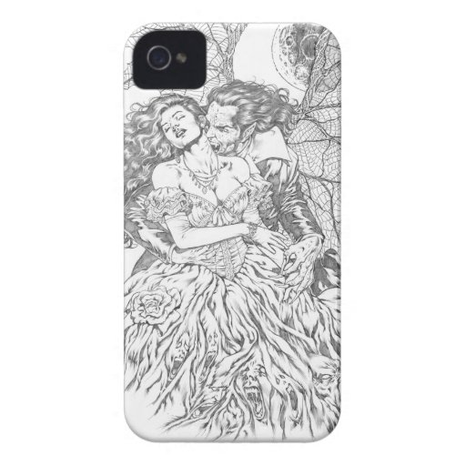 Vampire's Kiss by Al Rio - Vampire and Woman Art iPhone 4 Case-Mate Cases