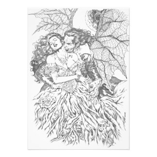 Vampire's Kiss by Al Rio - Vampire and Woman Art Personalized Invitations