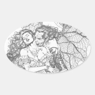 Vampire's Kiss by Al Rio - Vampire and Woman Art Oval Sticker