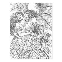 vampire's kiss,al rio,vampire,bite,vampires,horror,gothic,art,drawing,beautiful, Cartão postal com design gráfico personalizado