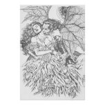 Vampire's Kiss by Al Rio - Vampire and Woman Art Poster