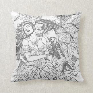 Vampire's Kiss by Al Rio - Vampire and Woman Art Throw Pillow