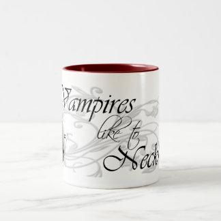 Vampires Like To Neck Two-Tone Coffee Mug