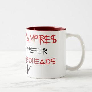vampires prefer redheads Two-Tone coffee mug