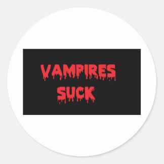 Vampires Suck Classic Round Sticker