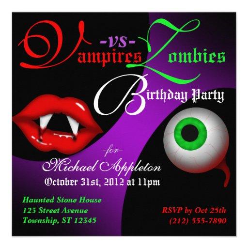 Personalized zombie birthday party invitations custominvitations4u vampires vs zombies halloween birthday invitations stopboris Images