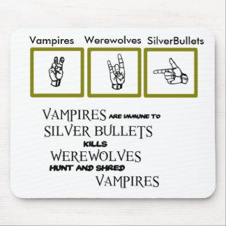 Vampires Werewolves Silver Bullets Mousepad