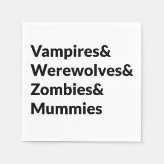 Vampires Werewolves Zombies Mummies Paper Napkins