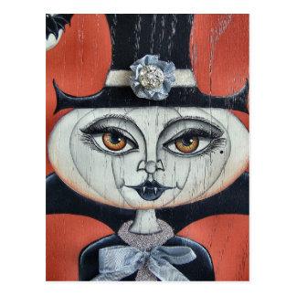 Vampiress Pumpkin Halloween Postcard