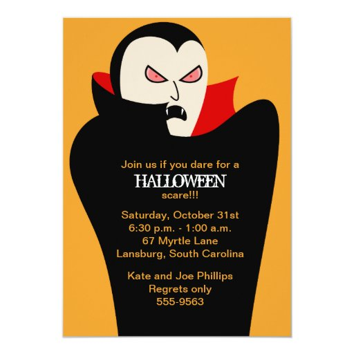 Vampiro asustadizo Halloween Invitación 12,7 X 17,8 Cm