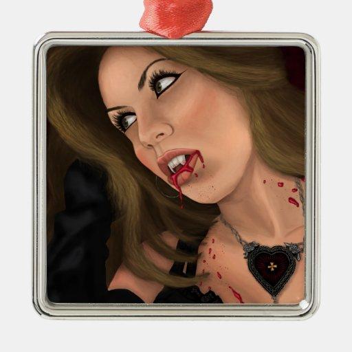 Vampiro atractivo subió sangre ornamentos de navidad