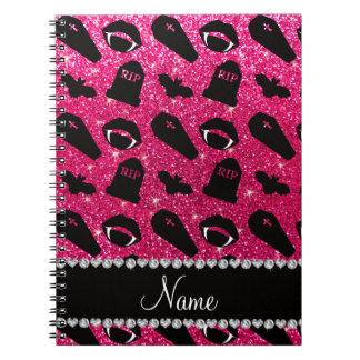 Vampiro conocido personalizado del brillo del rosa cuadernos