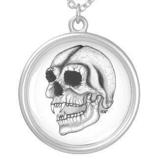Vampiro cráneo negro sabe dibujo colgante redondo