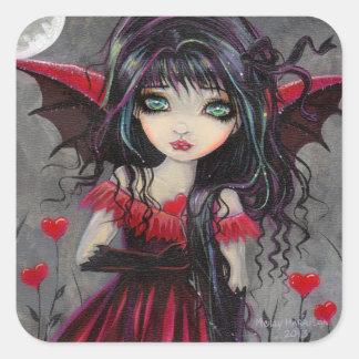 Vampiro de hadas gótico de la tarjeta del día de pegatina cuadrada