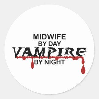 Vampiro de la partera por noche pegatina redonda