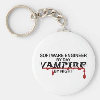 Vampiro de la Software Engineer por noche Llavero Redondo Tipo Pin