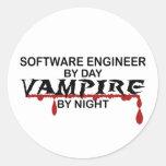 Vampiro de la Software Engineer por noche Pegatina Redonda