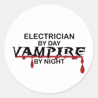 Vampiro del electricista por noche pegatina redonda