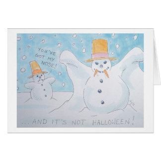 Vampiro del hombre de la nieve tarjeta de felicitación