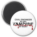 Vampiro del ingeniero civil por noche imán de frigorífico