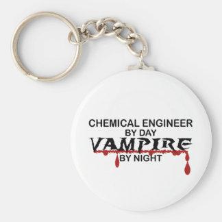 Vampiro del ingeniero químico por noche llavero redondo tipo pin