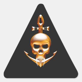 Vampiro del oro y cráneo del ancla pegatina triangular