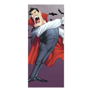 """Vampiro divertido del dibujo animado con los palos invitación 4"""" x 9.25"""""""