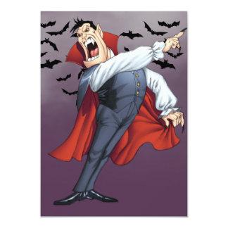 """Vampiro divertido del dibujo animado con los palos invitación 5"""" x 7"""""""