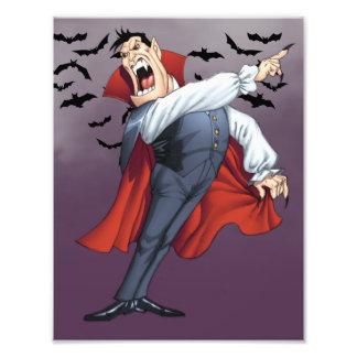 Vampiro divertido del dibujo animado con los palos arte fotografico