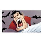 Vampiro divertido del dibujo animado con los palos tarjetas de visita