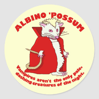 Vampiro divertido del oposum del albino etiqueta redonda