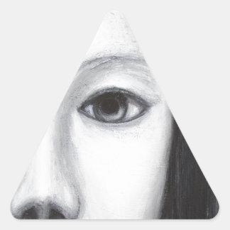 Vampiro femenino japonés (realismo surrealista) pegatina triangular