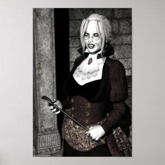 Vampiro gótico de la señora macabra póster