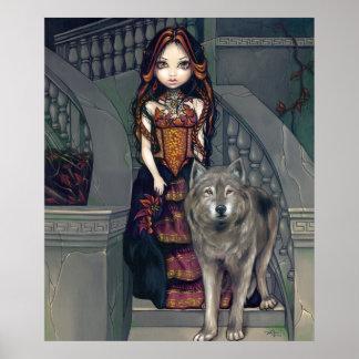 Vampiro gótico de los lobos de la IMPRESIÓN del AR Póster