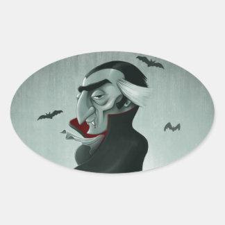 Vampiro Halloween Pegatina Ovalada