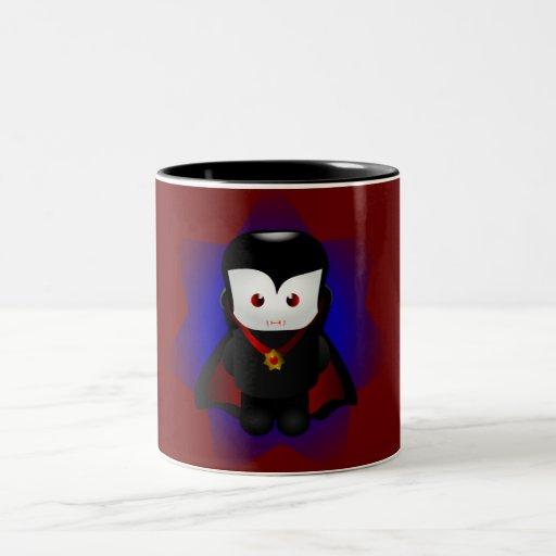 Vampiro lindo de Chibi - fondos oscuros Taza Dos Tonos